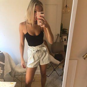 Zara stripped paper bag waist shorts